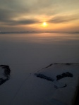 Sunrise scene flying into Kotzebue Sound