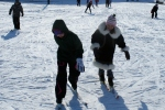 2nd graders working on skiing w/o poles