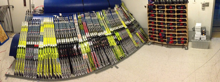 Setting up the equipment room to get ready for the onslaught of kids!
