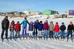 Greta and I with an elementary group. We had hundreds of kids come out to ski with us over the week!