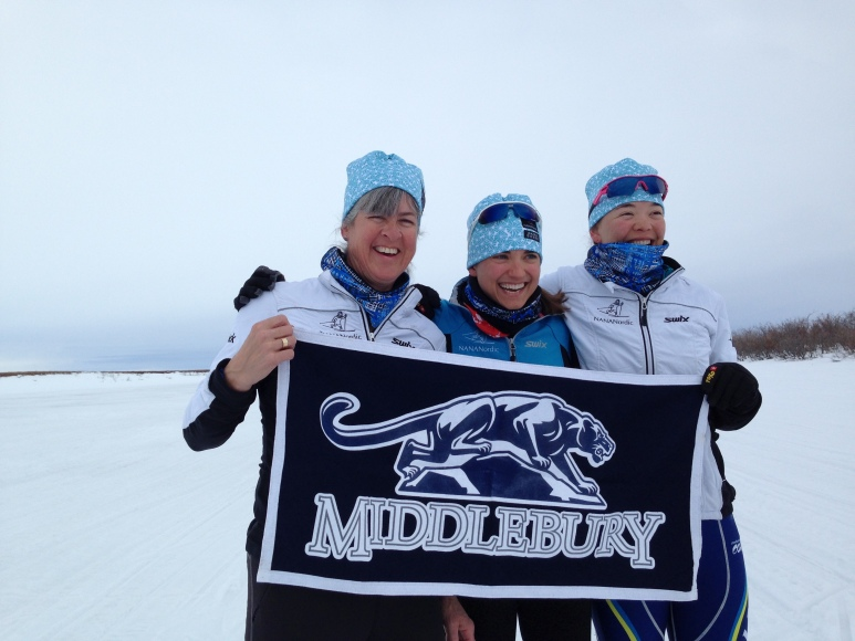 Alice, Dana and I all went to MIddlebury, so we brought a banner because what a sweet setting for a mini-Midd reunion. It was a great day to be a panther!