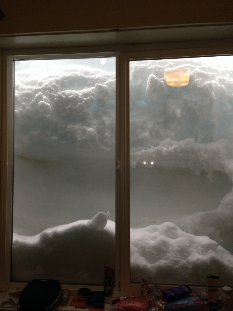 Our window about 4 days later...at least it blocked the summer midnight sun!