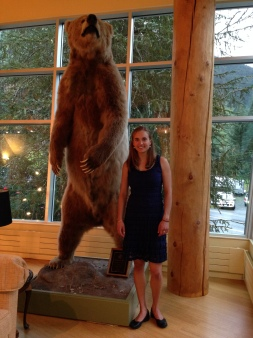 One of the hosts had a plethera of animals in his house, including this brown bear!