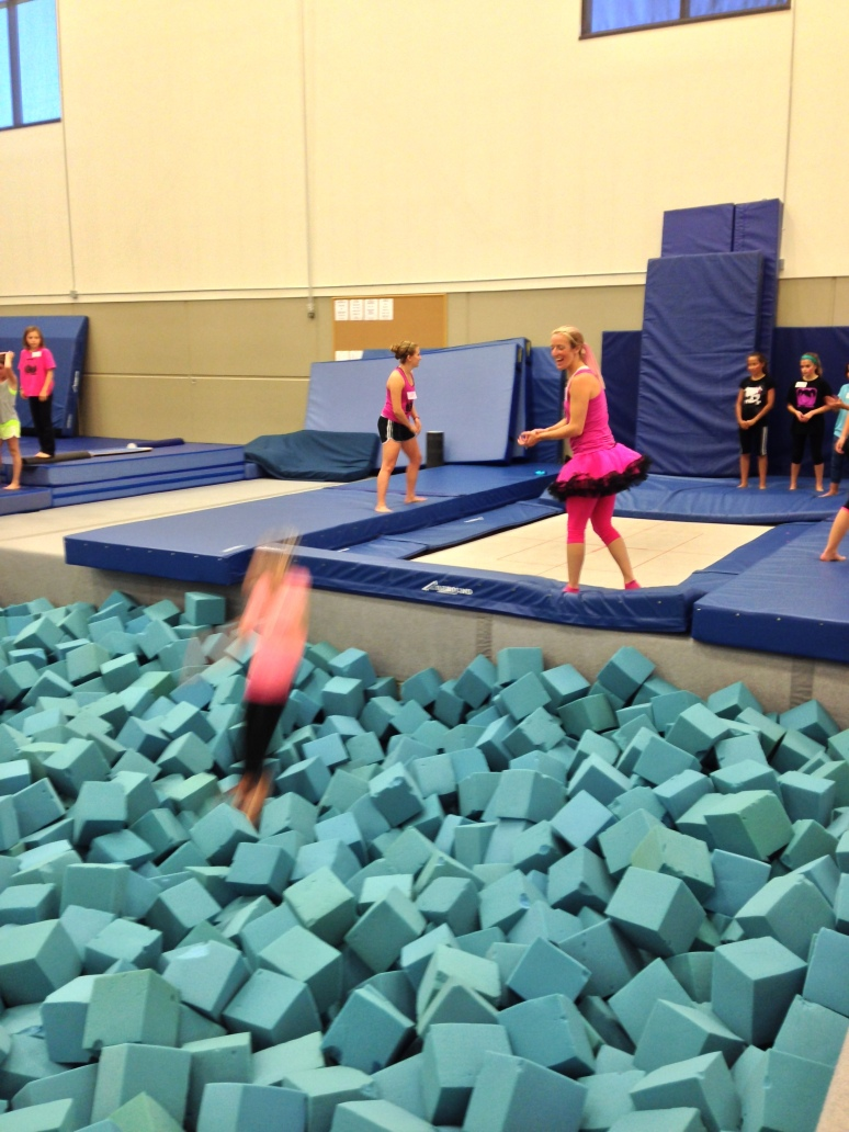 Playing in the foam pit at the USSA Center of Excellence.
