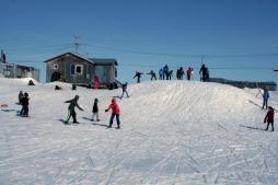 Having fun sliding on the hill.