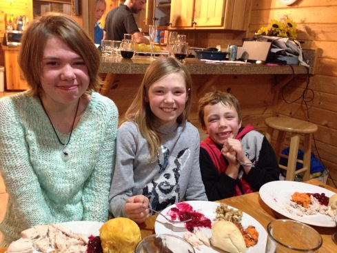 Flora kids loving their 2nd Thanksgiving dinner in one week!